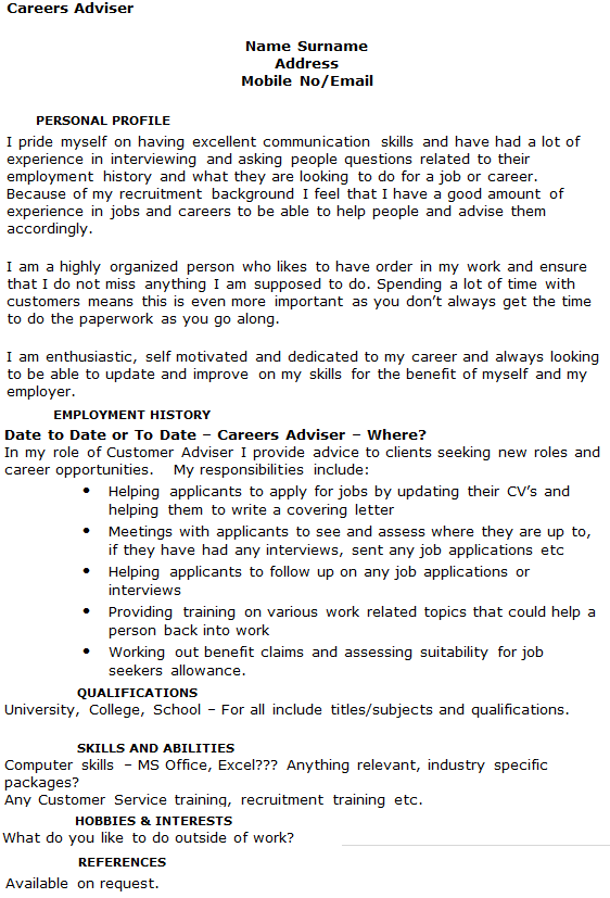 Careers Adviser CV Example Icover Org Uk