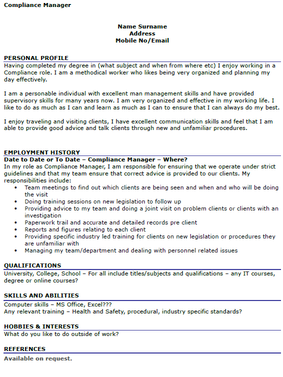 Compliance Manager CV Example Icover Org Uk