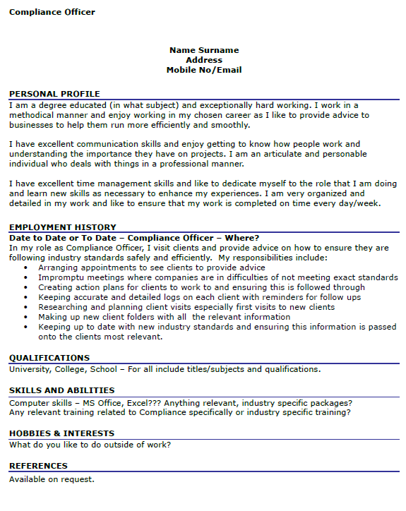 personal profile in resume example