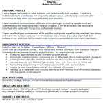 Compliance Officer CV Example