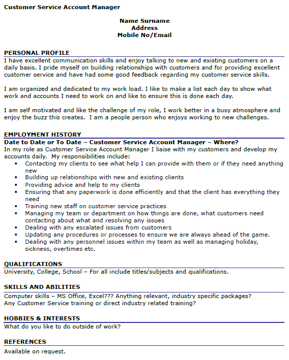 Customer Service Manager Cv Examples Uk Resume Samples For