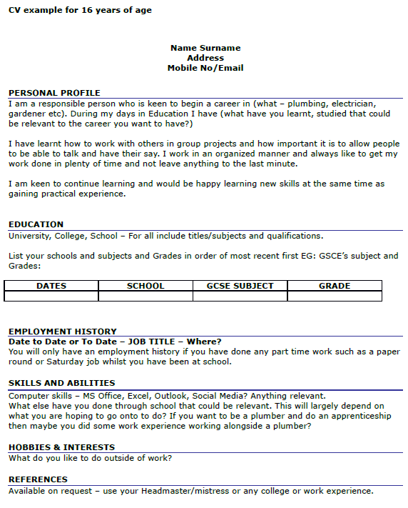 jobs for a 16 year old with no experience
