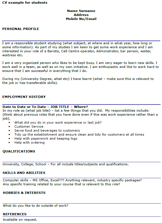 cv personal statement examples for students