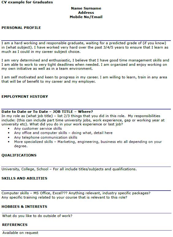 Example Of Graduate Cv Personal Profile & Top Essay Writing