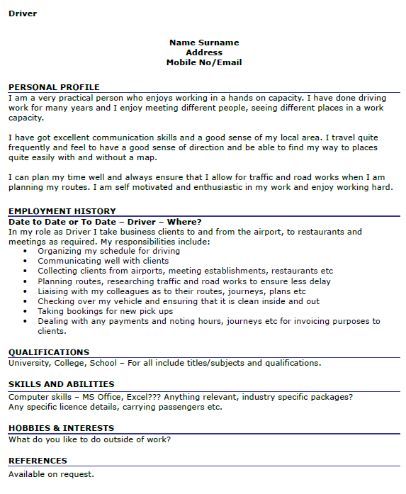 taxi cab driver resume heavy and tractor trailer truck drivers job