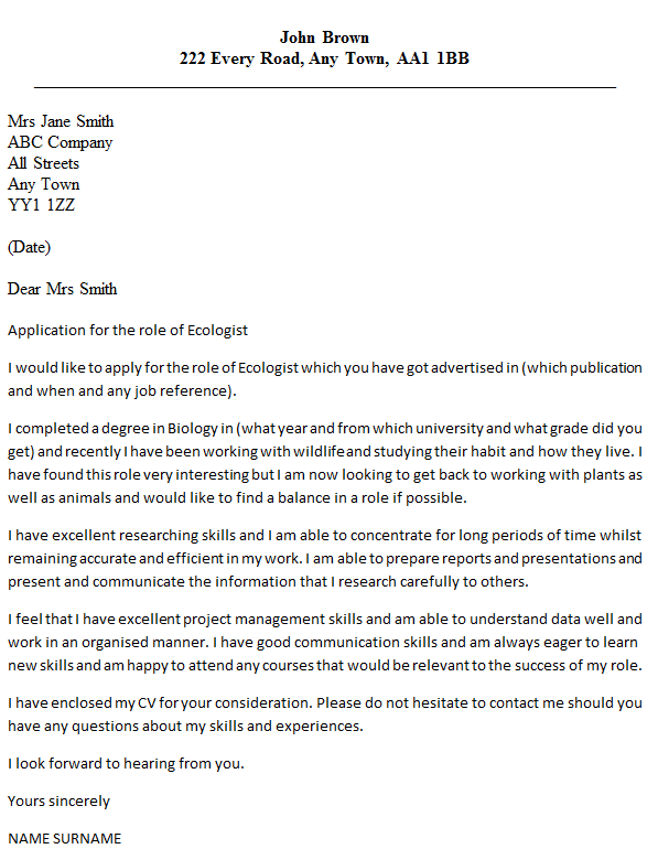 Ecologist Cover Letter Example  icoverorguk