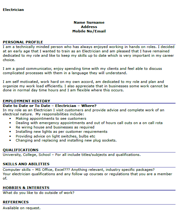electrician cv example icover org uk - Sample Resume For Electrical Technician