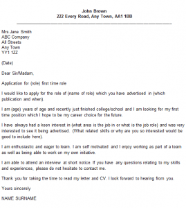 First Time Job Cover Letter Example Icover Org Uk