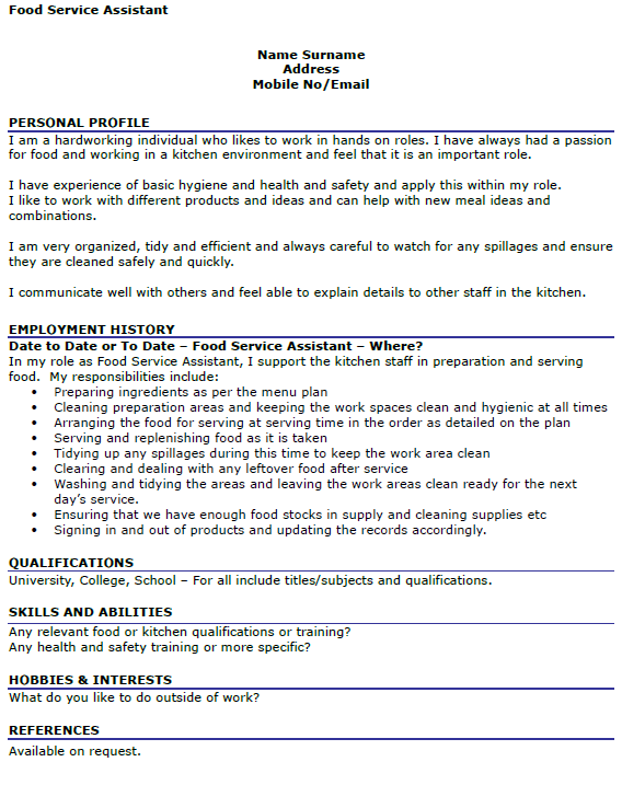 Food Service Assistant CV Example Icover Org Uk