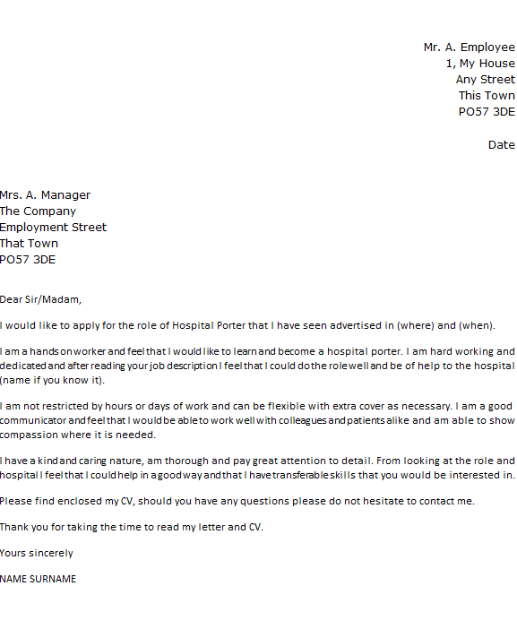 Hospital Porter Cover Letter Example  icoverorguk
