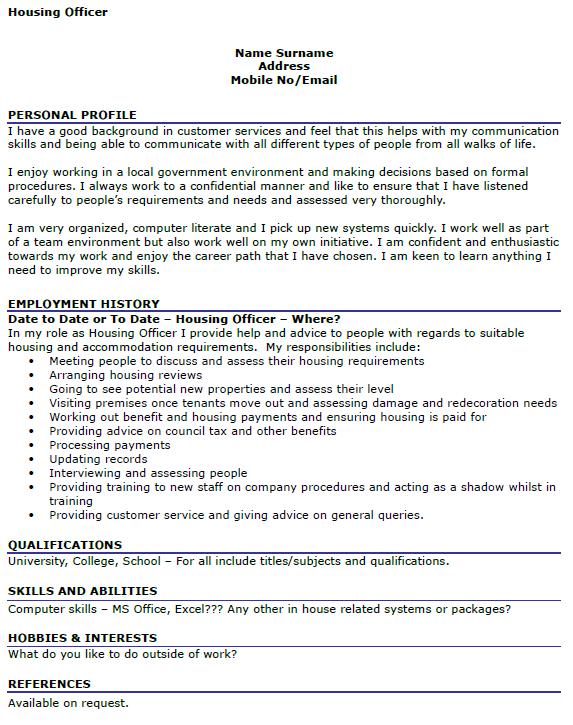 Housing Officer CV Example Icover Org Uk