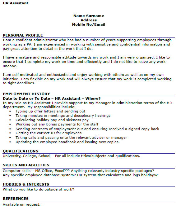 HR Assistant CV Example  icoverorguk