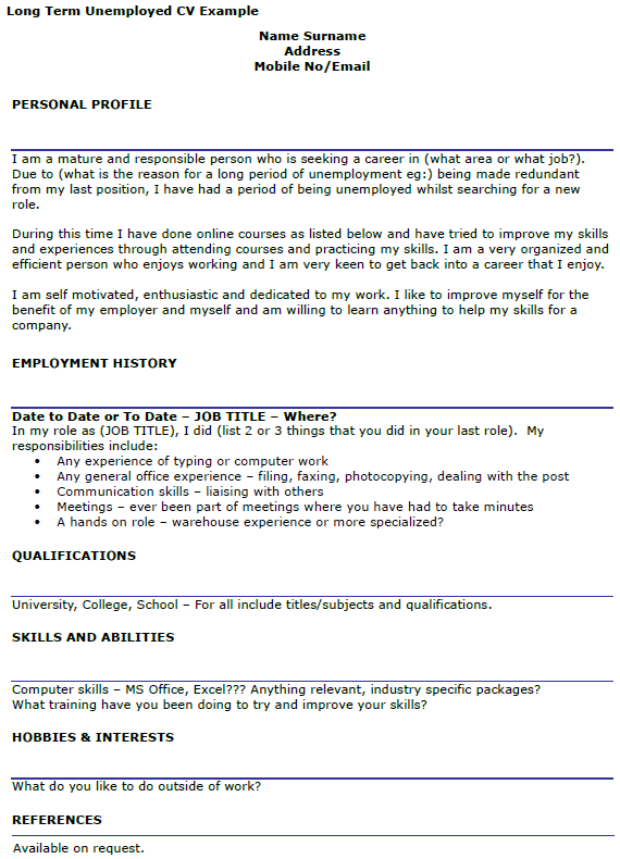 Long Term Unemployed CV Example  icoverorguk