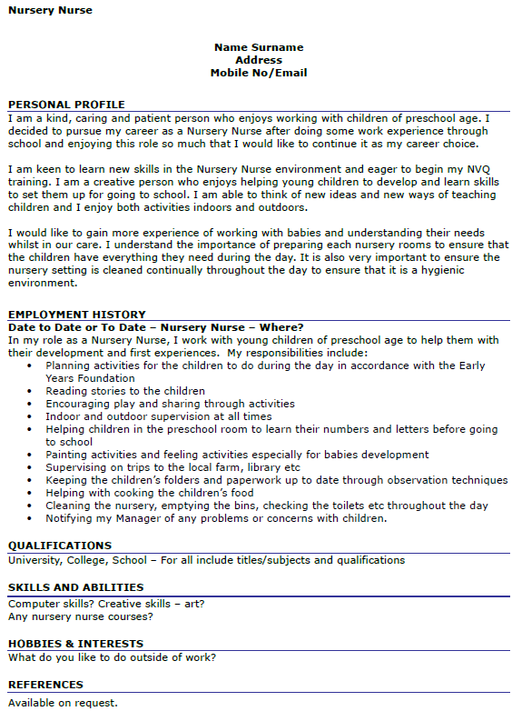 Nursery Nurse CV Example Icover Org Uk