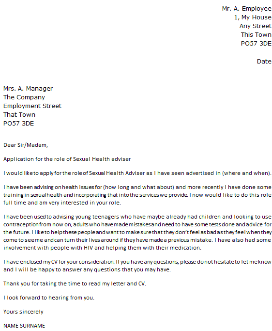 Sexual Health Adviser Cover Letter Example  icoverorguk