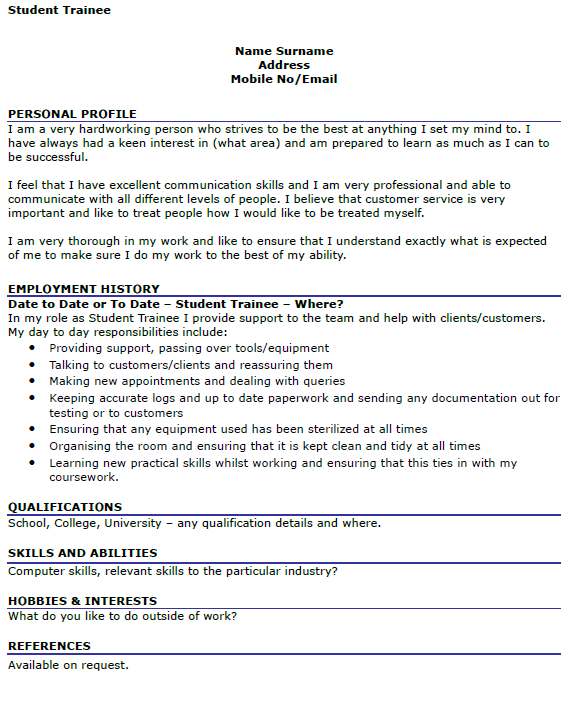 Student Trainee CV Example Icover Org Uk