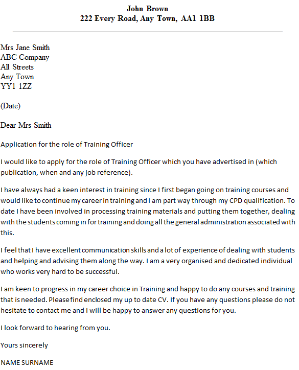 training officer cover letter example