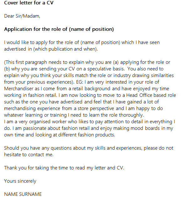 Cover Letter For A CV Icover Org Uk