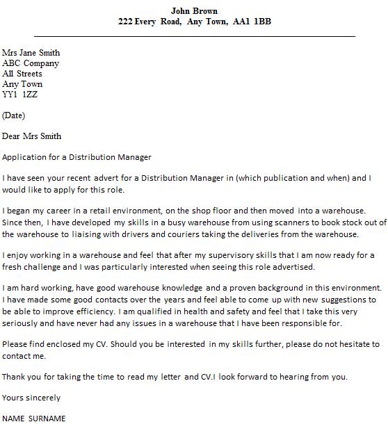 Warehouse Administrator Cover Letter Sample