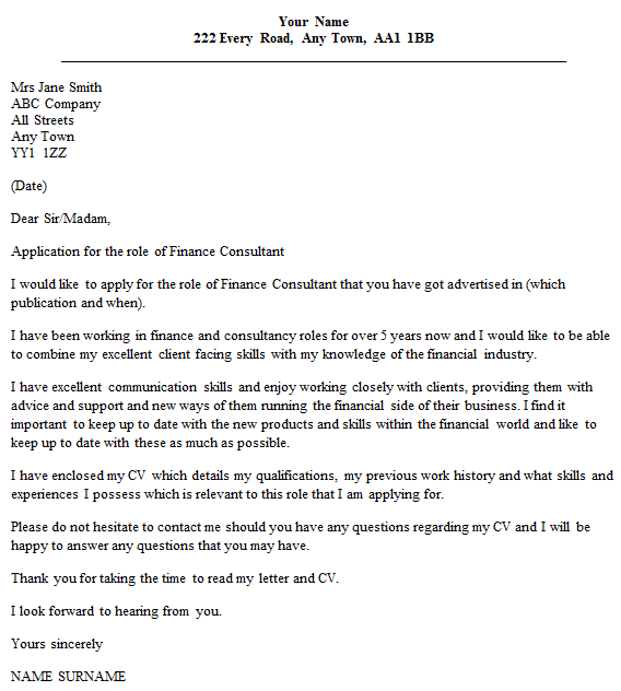 cover letter to consultant for job - finance consultant cover letter example
