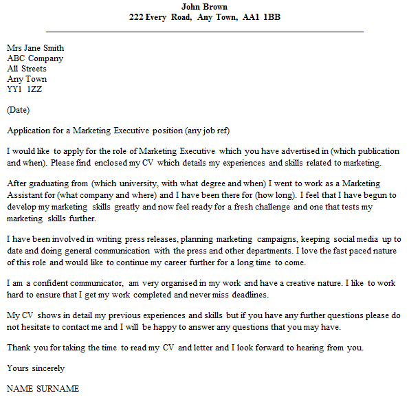 Marketing Executive Cover Letter Example Icover Org Uk