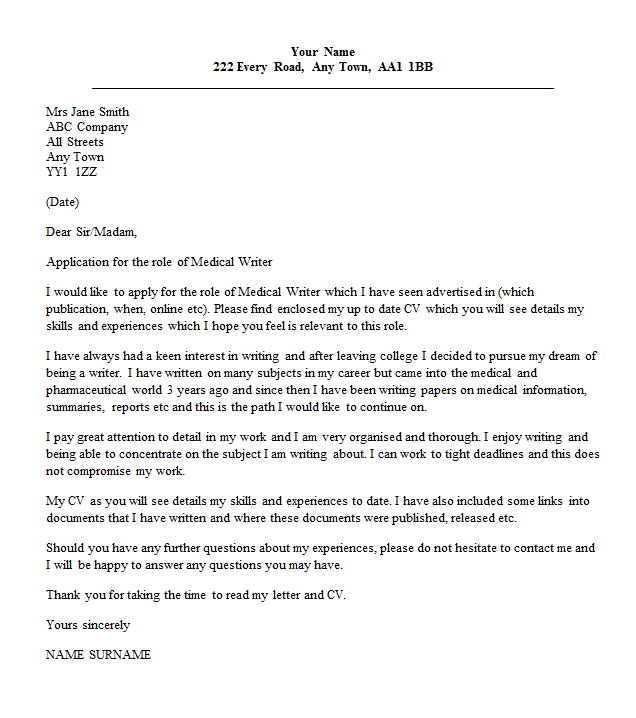 medical writer cover letter example - Cover Letter Applying Online