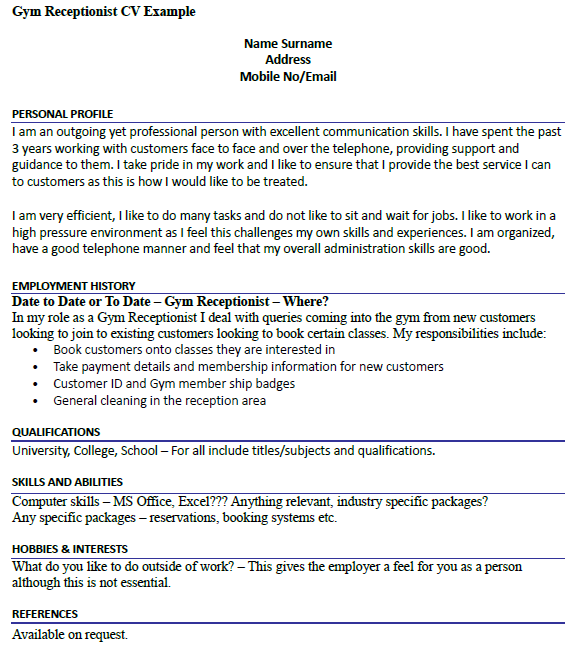 Gym Receptionist CV Example - icover.org.uk