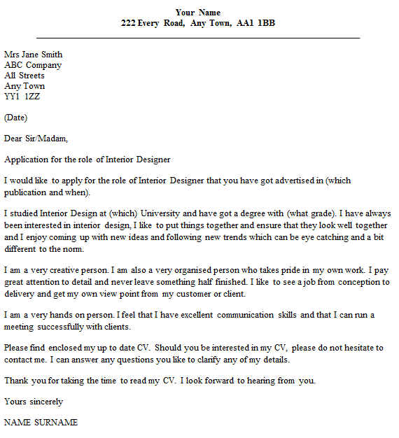 Interior Designer Cover Letter Example