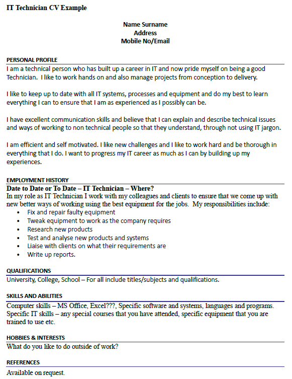 IT Technician CV Example Icover Org Uk