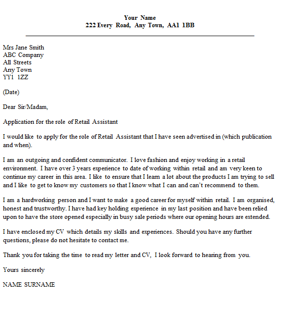 retail assistant cover letter example - Retail Cover Letter Examples Uk