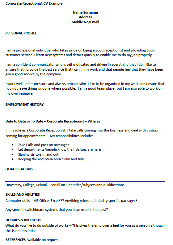 Corporate receptionist cv example for Cover letter for a gym receptionist