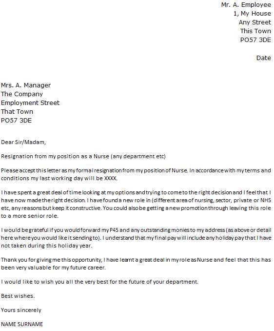 Nurse Resignation Letter Example icoverorguk – Formal Resignation Letters