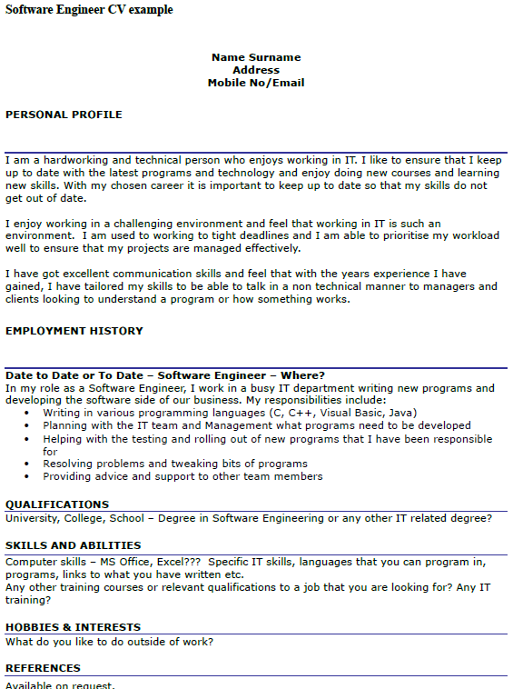 Software Engineer CV Example  icoverorguk