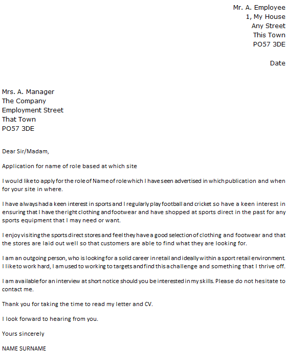 Sports Direct Cover Letter Example Icover Org Uk