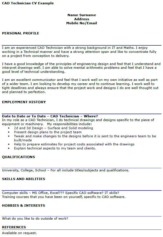 CAD Technician CV Example Icover Org Uk