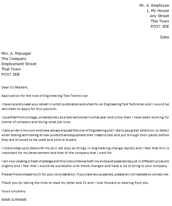 Engineering Test Technician Cover Letter Example Icover