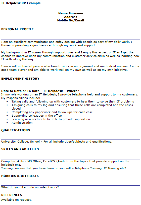it helpdesk cv example