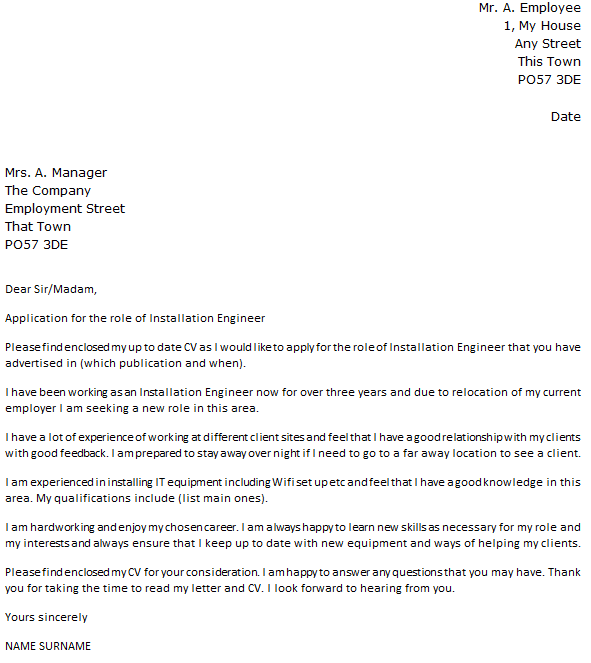 Installation Engineer Cover Letter Example  icoverorguk
