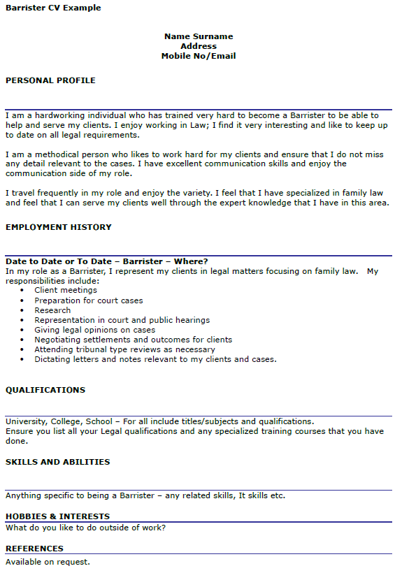 Barrister CV Example Icover Org Uk