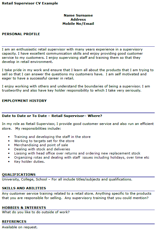 Retail Supervisor Cv Example Icover Org Uk