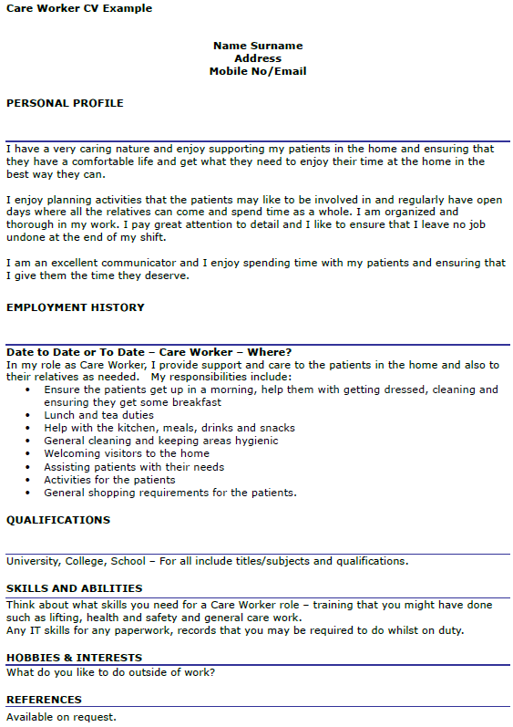 Care Worker CV Example  icoverorguk