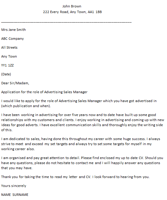 advertising account manager cover letter cover letter ...