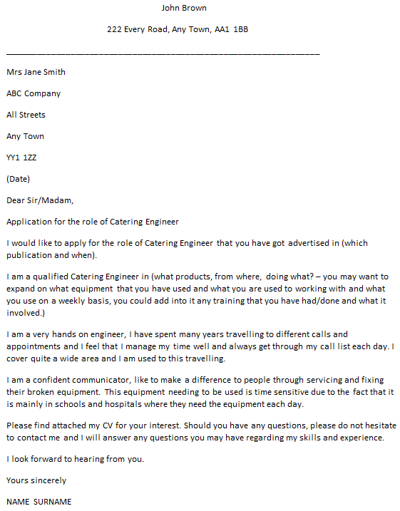 Catering Engineer Cover Letter Example  icoverorguk