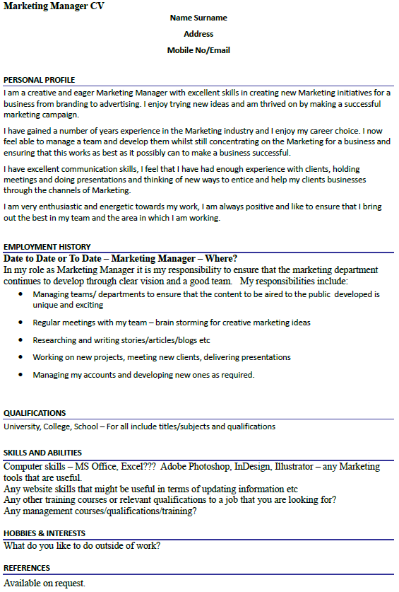 Marketing Manager CV Example Icover Org Uk