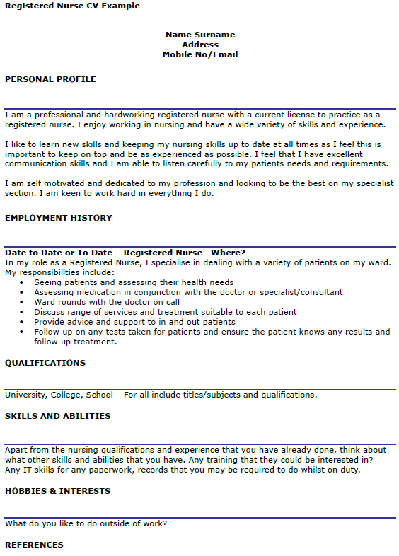 Registered Nurse CV Example  icoverorguk