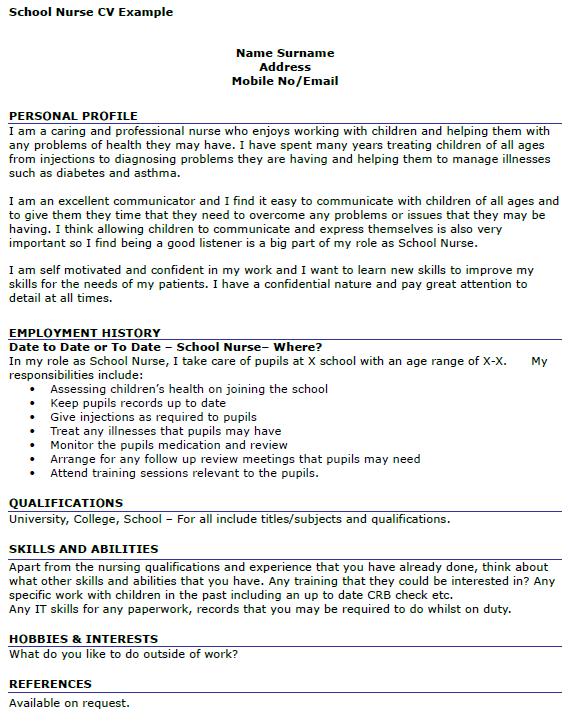 School Nurse CV Example Icover Org Uk
