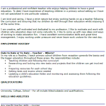 Teacher CV Example