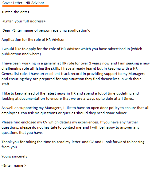 HR Advisor Cover Letter Example Icover Org Uk