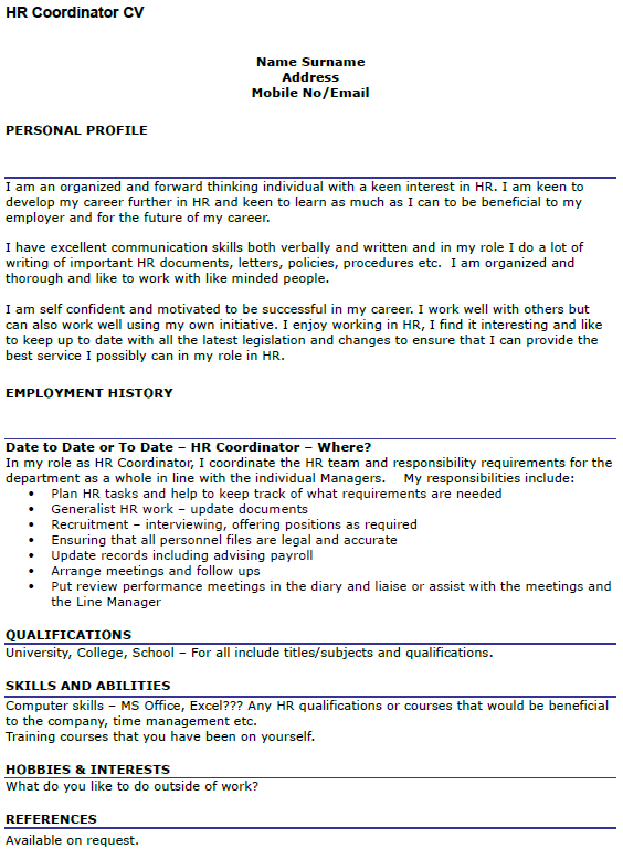 HR Coordinator CV Example Icover Org Uk