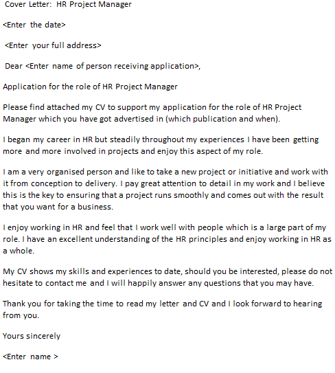HR Project Manager Cover Letter Example  icoverorguk